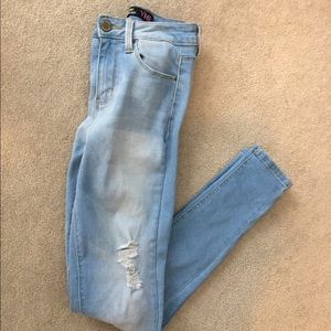 Light wash skinny high rise stretch ripped jeans